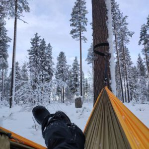 Relaxing in a hammock during virtual tour