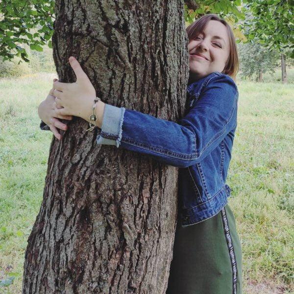 Irina delivering the winning virtual hug